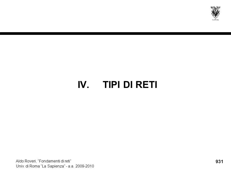 """931 Aldo Roveri, """"Fondamenti di reti"""" Univ. di Roma """"La Sapienza"""" - a.a. 2009-2010 IV.TIPI DI RETI"""