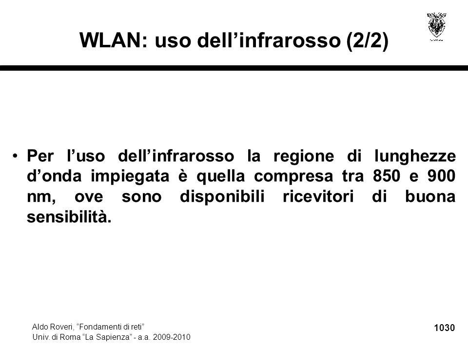 """1030 Aldo Roveri, """"Fondamenti di reti"""" Univ. di Roma """"La Sapienza"""" - a.a. 2009-2010 WLAN: uso dell'infrarosso (2/2) Per l'uso dell'infrarosso la regio"""