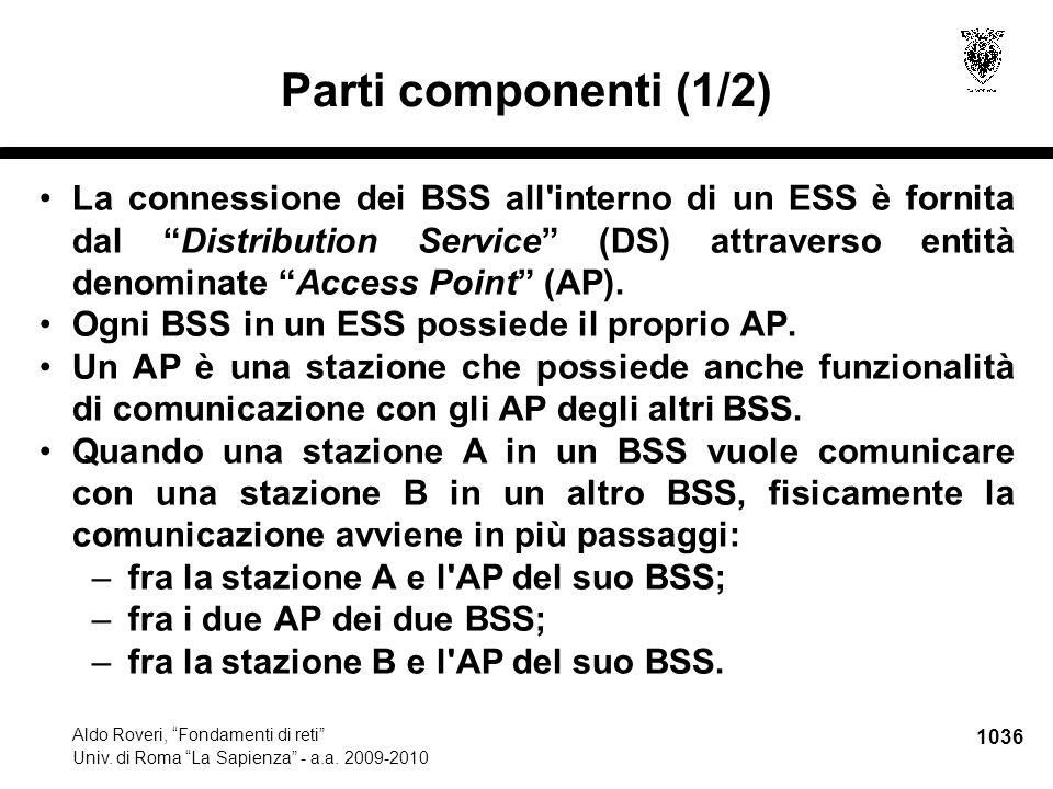 """1036 Aldo Roveri, """"Fondamenti di reti"""" Univ. di Roma """"La Sapienza"""" - a.a. 2009-2010 Parti componenti (1/2) La connessione dei BSS all'interno di un ES"""
