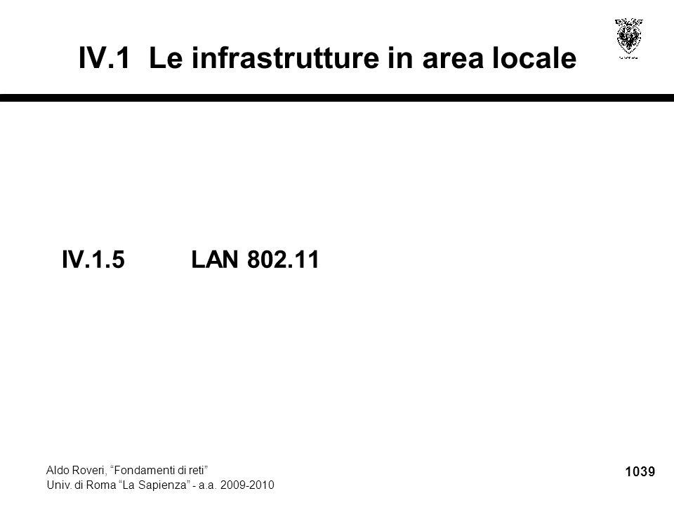 """1039 Aldo Roveri, """"Fondamenti di reti"""" Univ. di Roma """"La Sapienza"""" - a.a. 2009-2010 IV.1.5 LAN 802.11 IV.1 Le infrastrutture in area locale"""