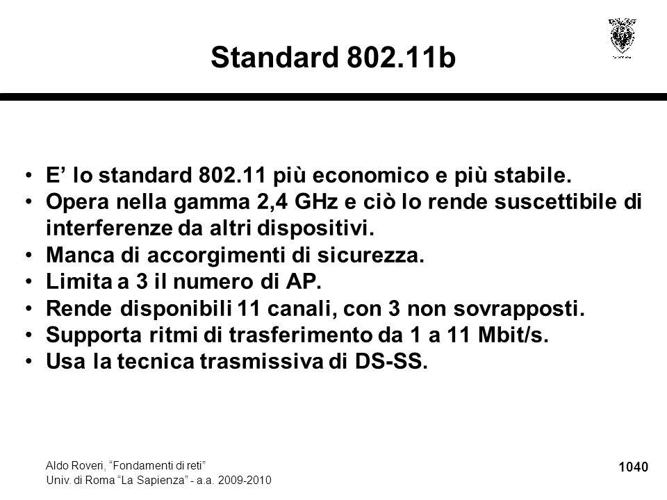 """1040 Aldo Roveri, """"Fondamenti di reti"""" Univ. di Roma """"La Sapienza"""" - a.a. 2009-2010 Standard 802.11b E' lo standard 802.11 più economico e più stabile"""