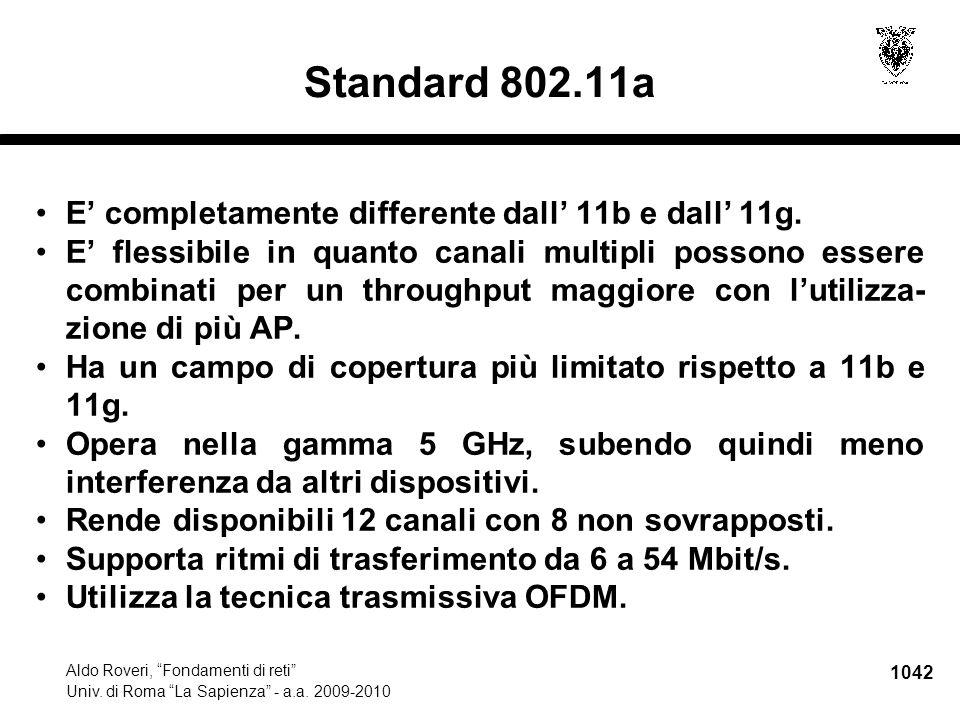 """1042 Aldo Roveri, """"Fondamenti di reti"""" Univ. di Roma """"La Sapienza"""" - a.a. 2009-2010 Standard 802.11a E' completamente differente dall' 11b e dall' 11g"""