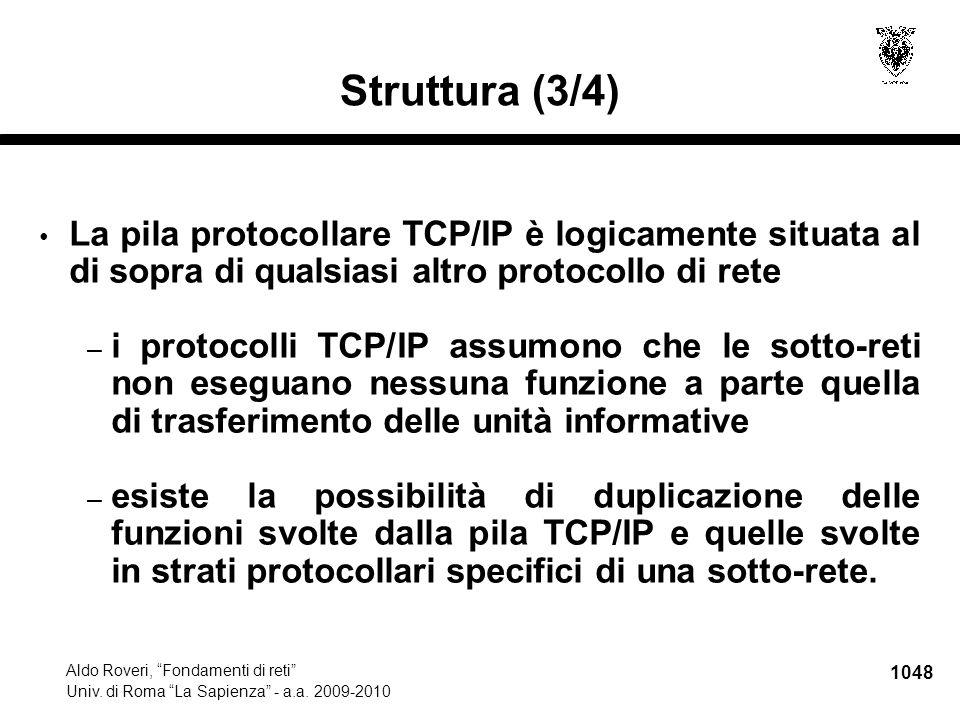 """1048 Aldo Roveri, """"Fondamenti di reti"""" Univ. di Roma """"La Sapienza"""" - a.a. 2009-2010 Struttura (3/4) La pila protocollare TCP/IP è logicamente situata"""