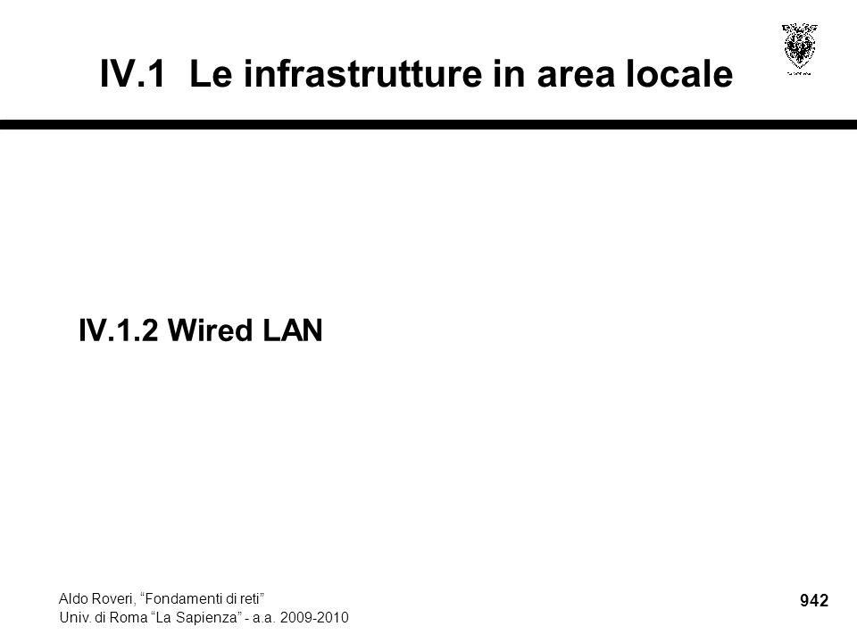 """942 Aldo Roveri, """"Fondamenti di reti"""" Univ. di Roma """"La Sapienza"""" - a.a. 2009-2010 IV.1 Le infrastrutture in area locale IV.1.2Wired LAN"""