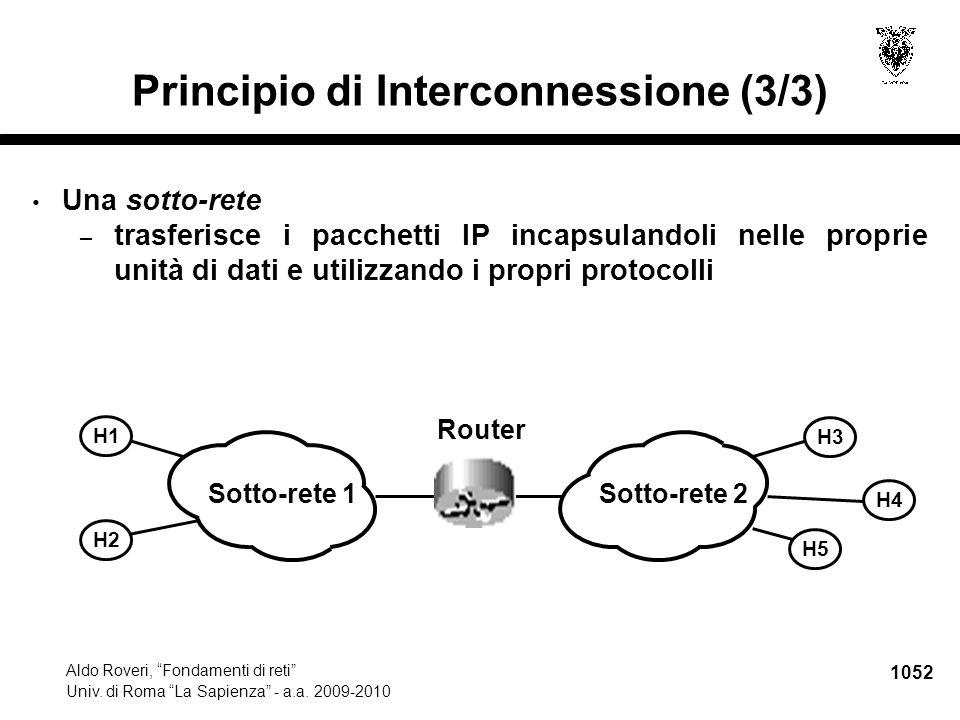 """1052 Aldo Roveri, """"Fondamenti di reti"""" Univ. di Roma """"La Sapienza"""" - a.a. 2009-2010 Principio di Interconnessione (3/3) Una sotto-rete – trasferisce i"""