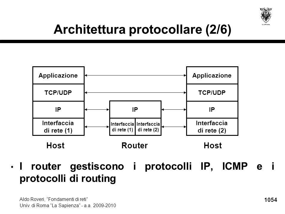 """1054 Aldo Roveri, """"Fondamenti di reti"""" Univ. di Roma """"La Sapienza"""" - a.a. 2009-2010 Architettura protocollare (2/6) I router gestiscono i protocolli I"""