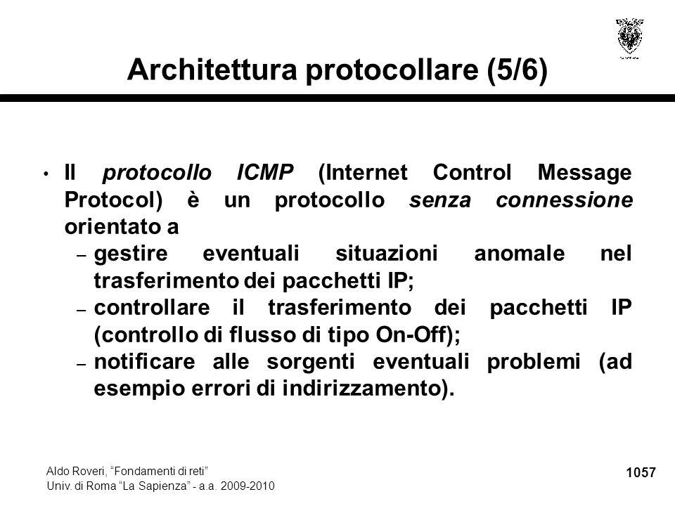 """1057 Aldo Roveri, """"Fondamenti di reti"""" Univ. di Roma """"La Sapienza"""" - a.a. 2009-2010 Architettura protocollare (5/6) Il protocollo ICMP (Internet Contr"""