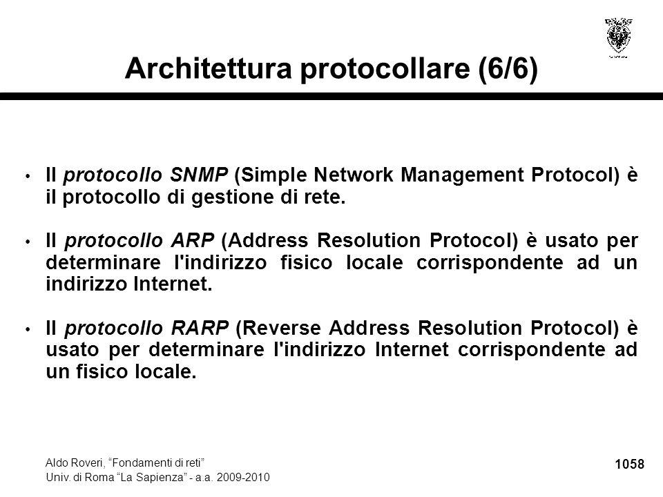 """1058 Aldo Roveri, """"Fondamenti di reti"""" Univ. di Roma """"La Sapienza"""" - a.a. 2009-2010 Architettura protocollare (6/6) Il protocollo SNMP (Simple Network"""