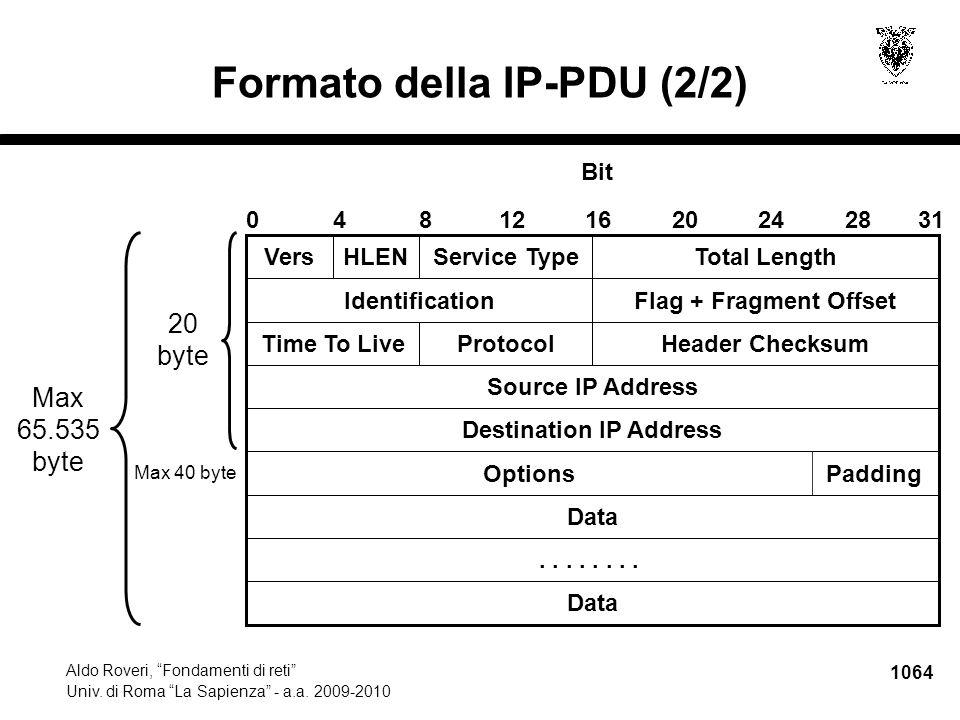 """1064 Aldo Roveri, """"Fondamenti di reti"""" Univ. di Roma """"La Sapienza"""" - a.a. 2009-2010 Formato della IP-PDU (2/2) OptionsPadding VersHLENService TypeTota"""