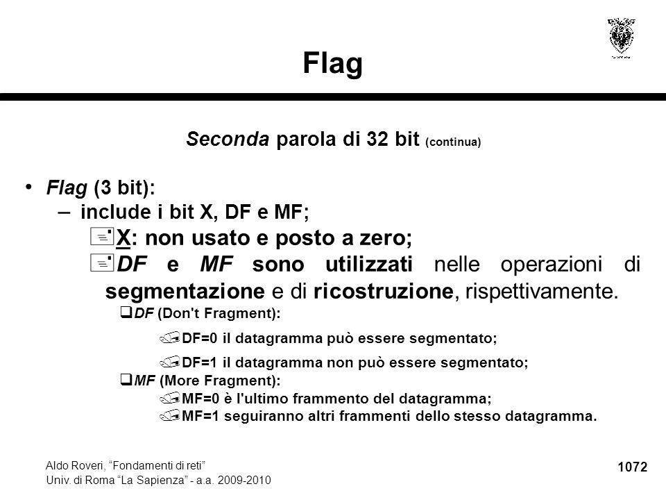 """1072 Aldo Roveri, """"Fondamenti di reti"""" Univ. di Roma """"La Sapienza"""" - a.a. 2009-2010 Flag Seconda parola di 32 bit (continua) Flag (3 bit): – include i"""
