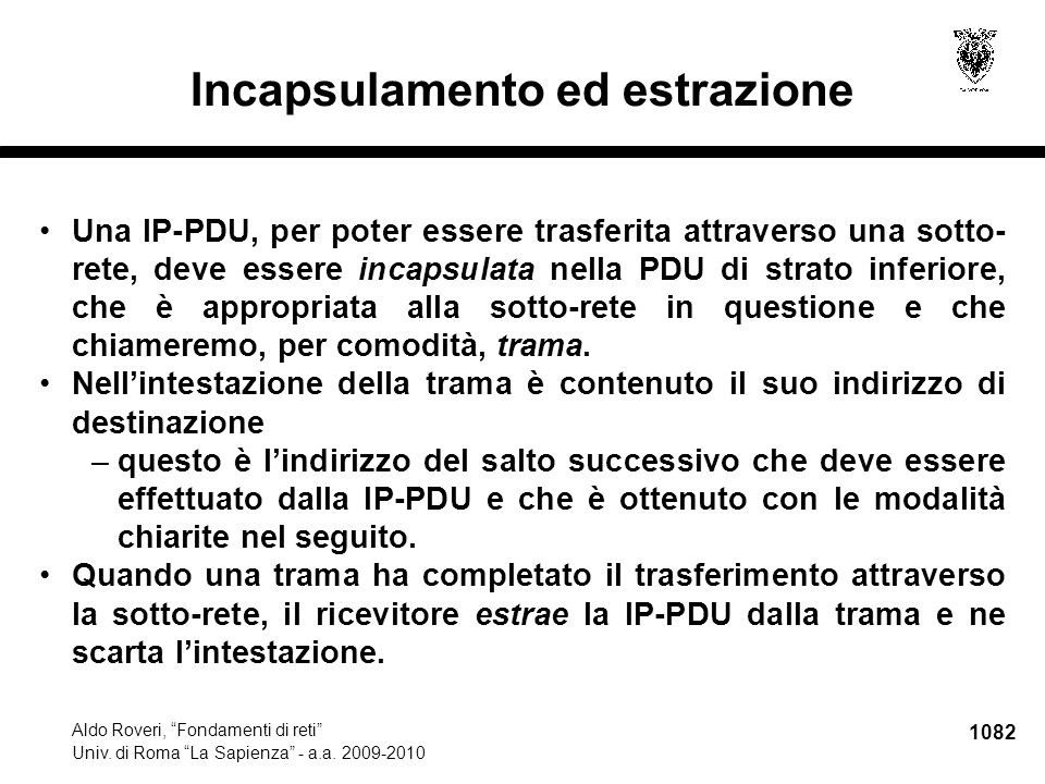 """1082 Aldo Roveri, """"Fondamenti di reti"""" Univ. di Roma """"La Sapienza"""" - a.a. 2009-2010 Incapsulamento ed estrazione Una IP-PDU, per poter essere trasferi"""