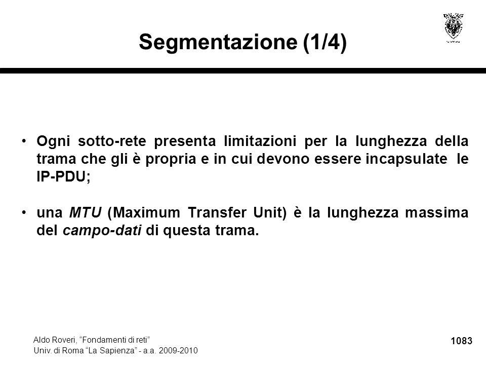 """1083 Aldo Roveri, """"Fondamenti di reti"""" Univ. di Roma """"La Sapienza"""" - a.a. 2009-2010 Segmentazione (1/4) Ogni sotto-rete presenta limitazioni per la lu"""