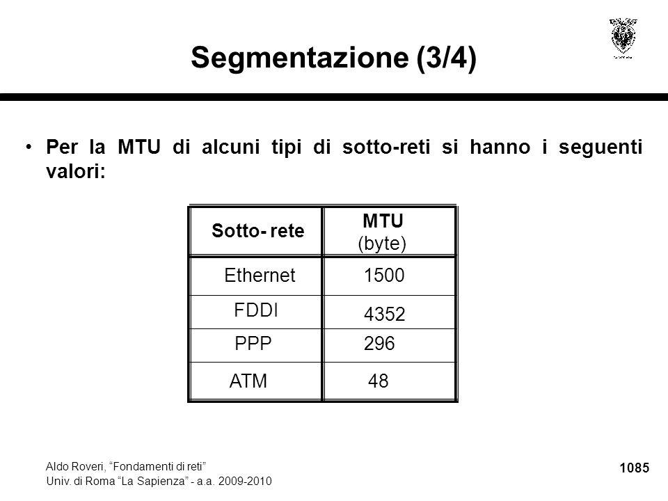 """1085 Aldo Roveri, """"Fondamenti di reti"""" Univ. di Roma """"La Sapienza"""" - a.a. 2009-2010 Segmentazione (3/4) Per la MTU di alcuni tipi di sotto-reti si han"""