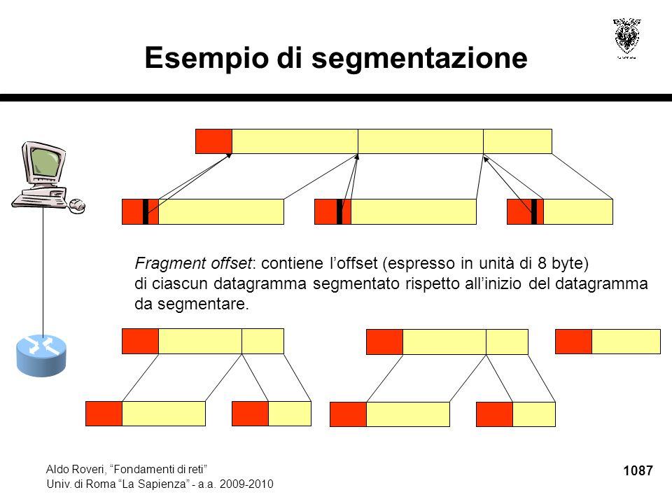 """1087 Aldo Roveri, """"Fondamenti di reti"""" Univ. di Roma """"La Sapienza"""" - a.a. 2009-2010 Esempio di segmentazione Fragment offset: contiene l'offset (espre"""