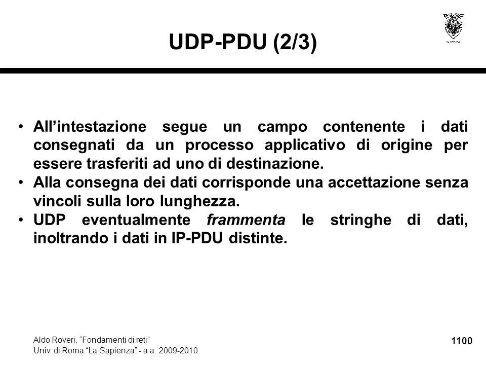 """1100 Aldo Roveri, """"Fondamenti di reti"""" Univ. di Roma """"La Sapienza"""" - a.a. 2009-2010 UDP-PDU (2/3) All'intestazione segue un campo contenente i dati co"""