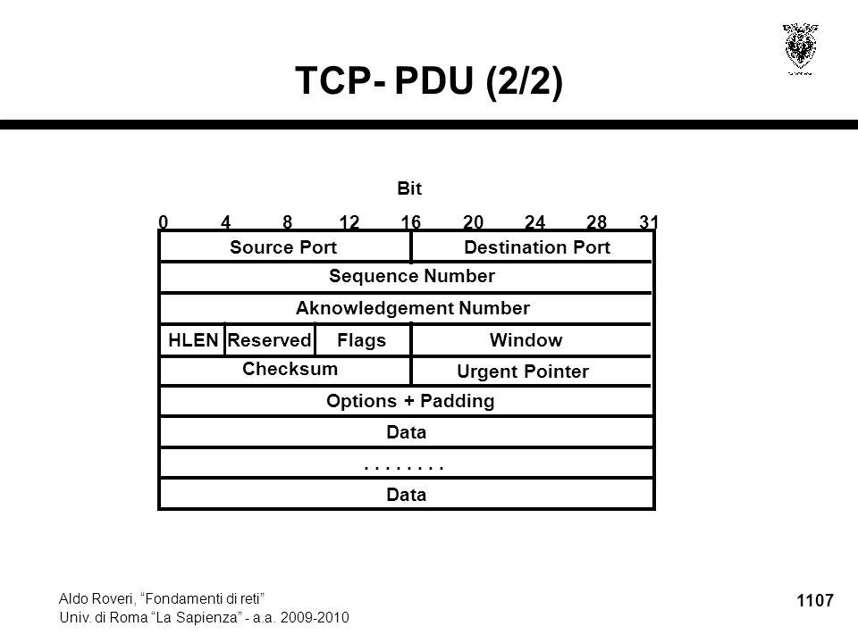"""1107 Aldo Roveri, """"Fondamenti di reti"""" Univ. di Roma """"La Sapienza"""" - a.a. 2009-2010 TCP- PDU (2/2) Options + Padding Destination Port Data.... Data 04"""