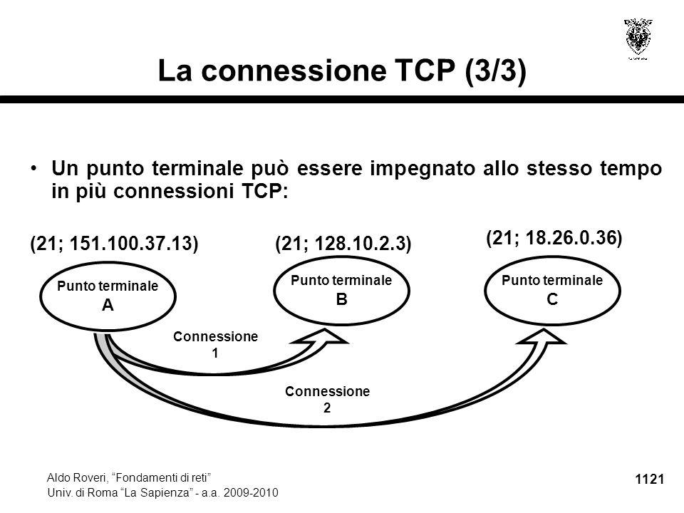 """1121 Aldo Roveri, """"Fondamenti di reti"""" Univ. di Roma """"La Sapienza"""" - a.a. 2009-2010 La connessione TCP (3/3) Un punto terminale può essere impegnato a"""