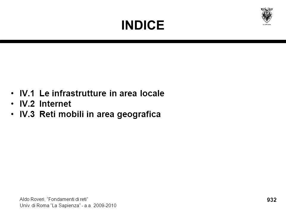 """932 Aldo Roveri, """"Fondamenti di reti"""" Univ. di Roma """"La Sapienza"""" - a.a. 2009-2010 INDICE IV.1Le infrastrutture in area locale IV.2Internet IV.3Reti m"""