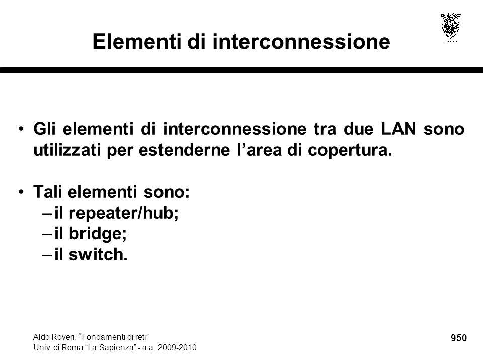 """950 Aldo Roveri, """"Fondamenti di reti"""" Univ. di Roma """"La Sapienza"""" - a.a. 2009-2010 Elementi di interconnessione Gli elementi di interconnessione tra d"""