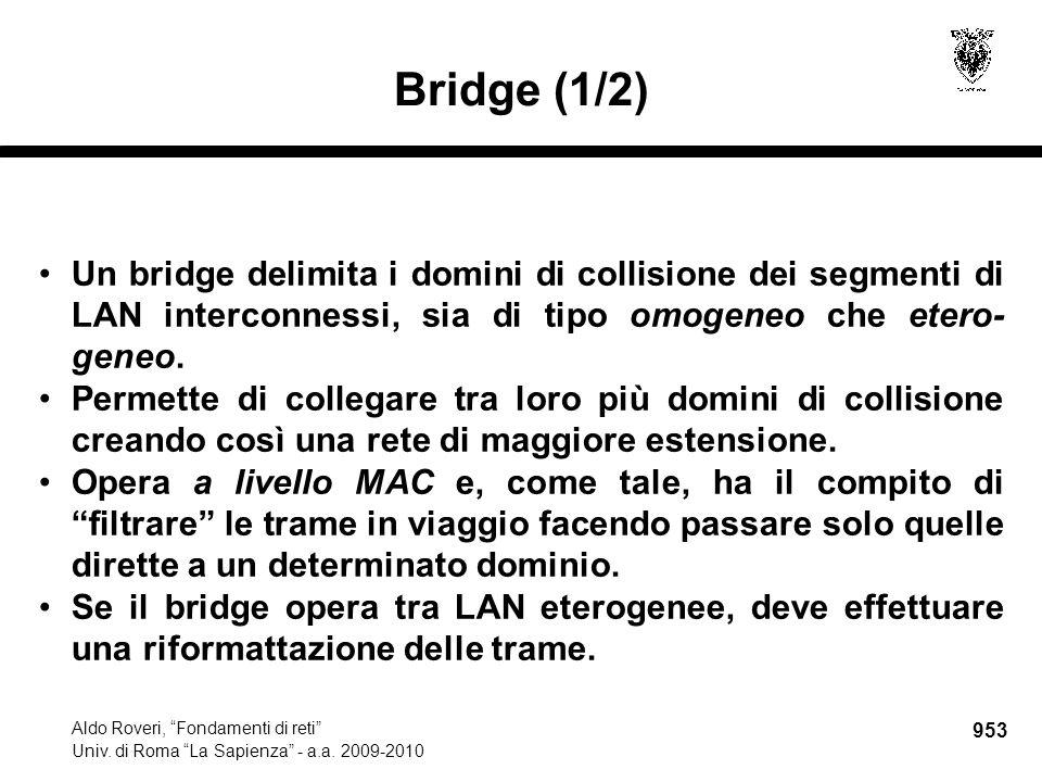 """953 Aldo Roveri, """"Fondamenti di reti"""" Univ. di Roma """"La Sapienza"""" - a.a. 2009-2010 Bridge (1/2) Un bridge delimita i domini di collisione dei segmenti"""