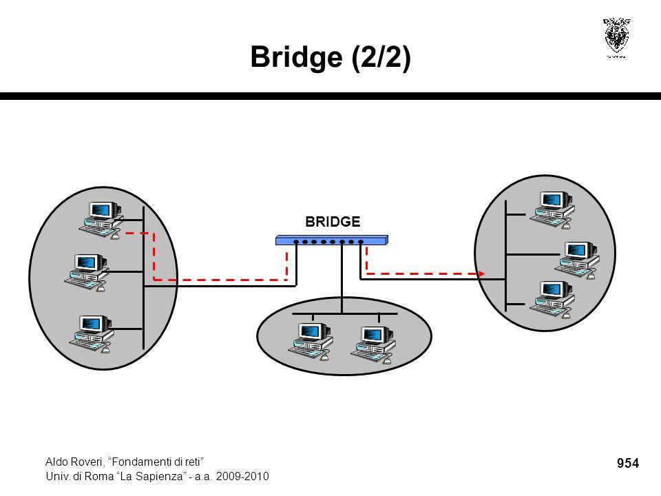 """954 Aldo Roveri, """"Fondamenti di reti"""" Univ. di Roma """"La Sapienza"""" - a.a. 2009-2010 BRIDGE Bridge (2/2)"""