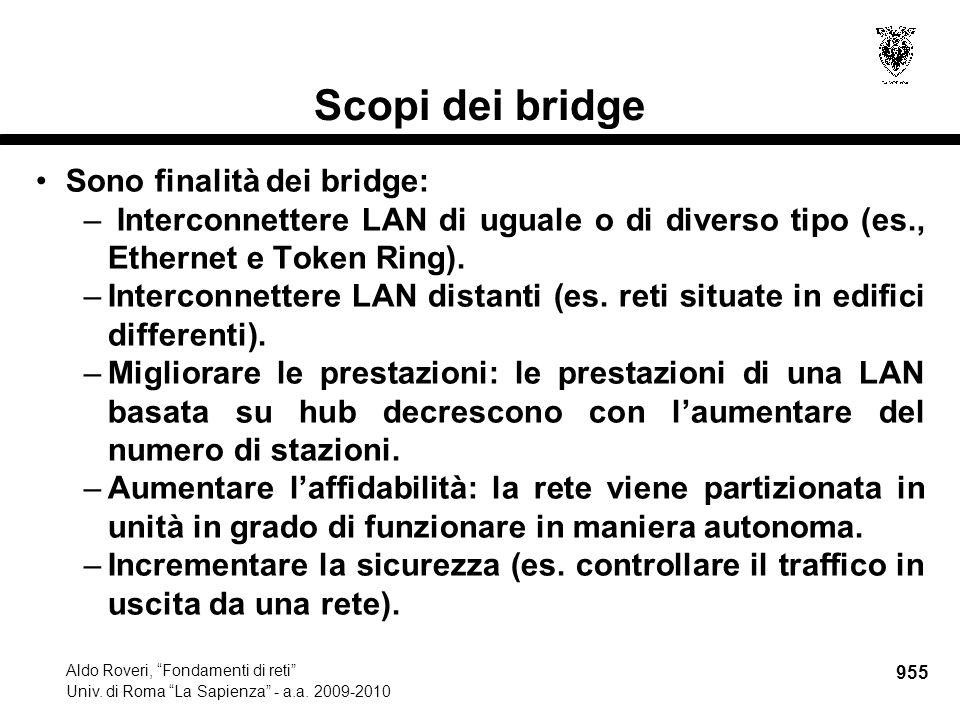 """955 Aldo Roveri, """"Fondamenti di reti"""" Univ. di Roma """"La Sapienza"""" - a.a. 2009-2010 Scopi dei bridge Sono finalità dei bridge: – Interconnettere LAN di"""