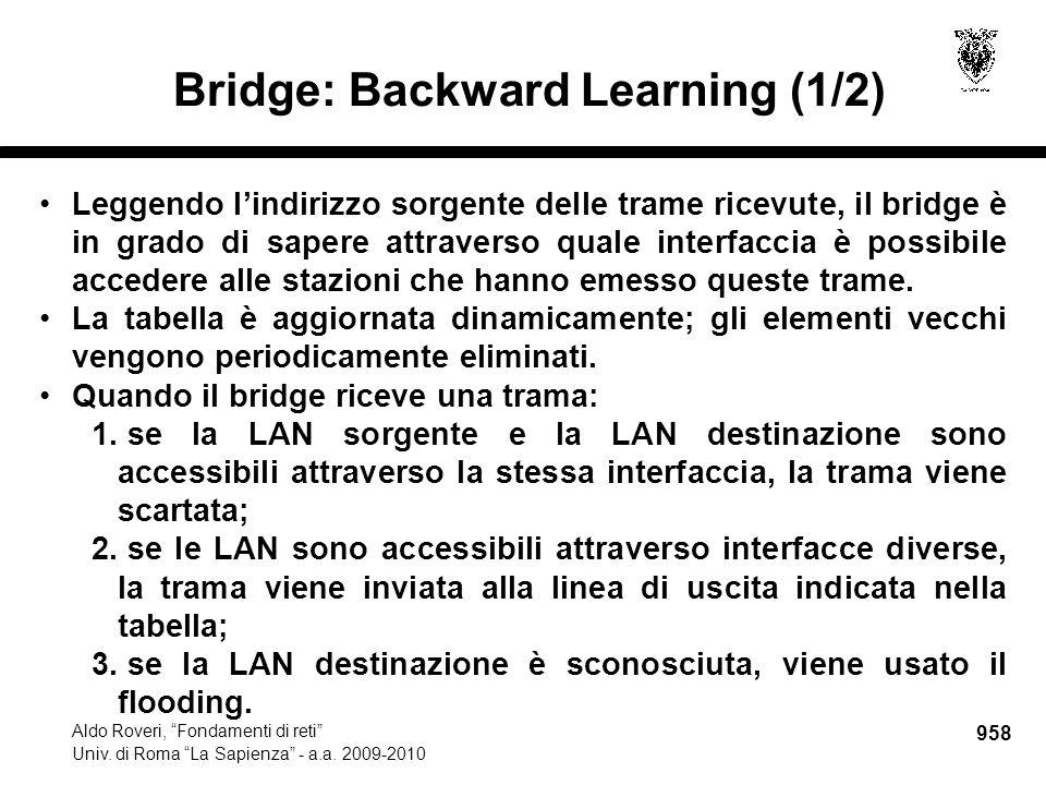 """958 Aldo Roveri, """"Fondamenti di reti"""" Univ. di Roma """"La Sapienza"""" - a.a. 2009-2010 Bridge: Backward Learning (1/2) Leggendo l'indirizzo sorgente delle"""