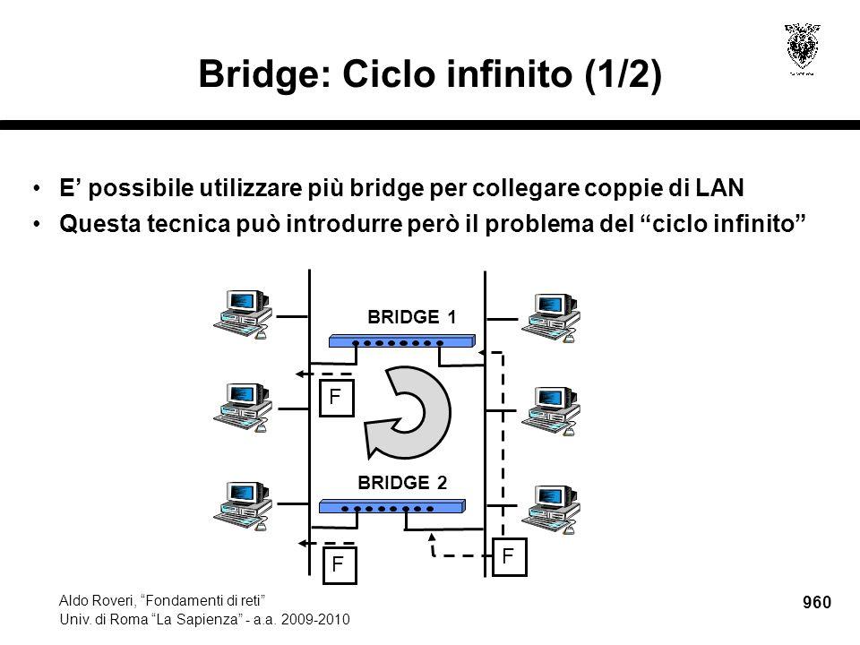 """960 Aldo Roveri, """"Fondamenti di reti"""" Univ. di Roma """"La Sapienza"""" - a.a. 2009-2010 Bridge: Ciclo infinito (1/2) E' possibile utilizzare più bridge per"""
