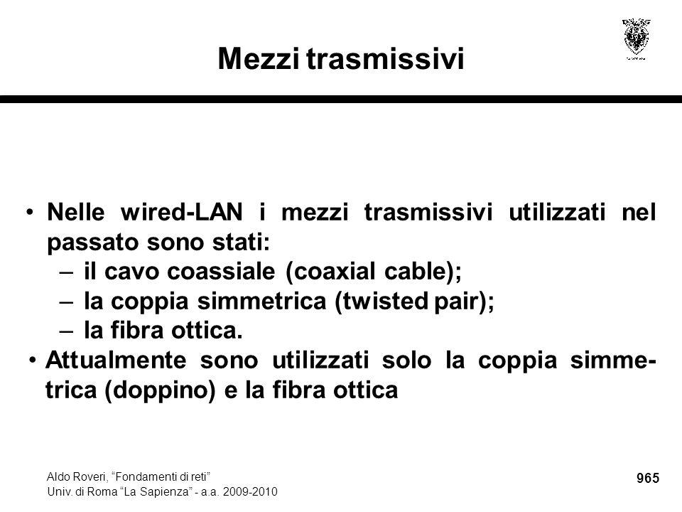 """965 Aldo Roveri, """"Fondamenti di reti"""" Univ. di Roma """"La Sapienza"""" - a.a. 2009-2010 Mezzi trasmissivi Nelle wired-LAN i mezzi trasmissivi utilizzati ne"""