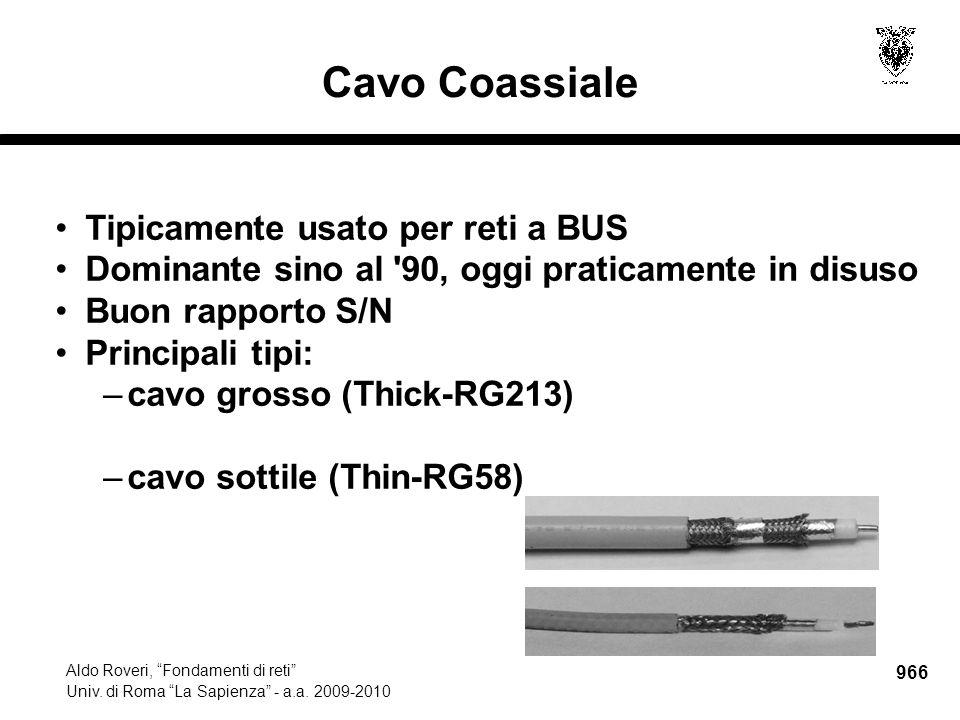 """966 Aldo Roveri, """"Fondamenti di reti"""" Univ. di Roma """"La Sapienza"""" - a.a. 2009-2010 Tipicamente usato per reti a BUS Dominante sino al '90, oggi pratic"""