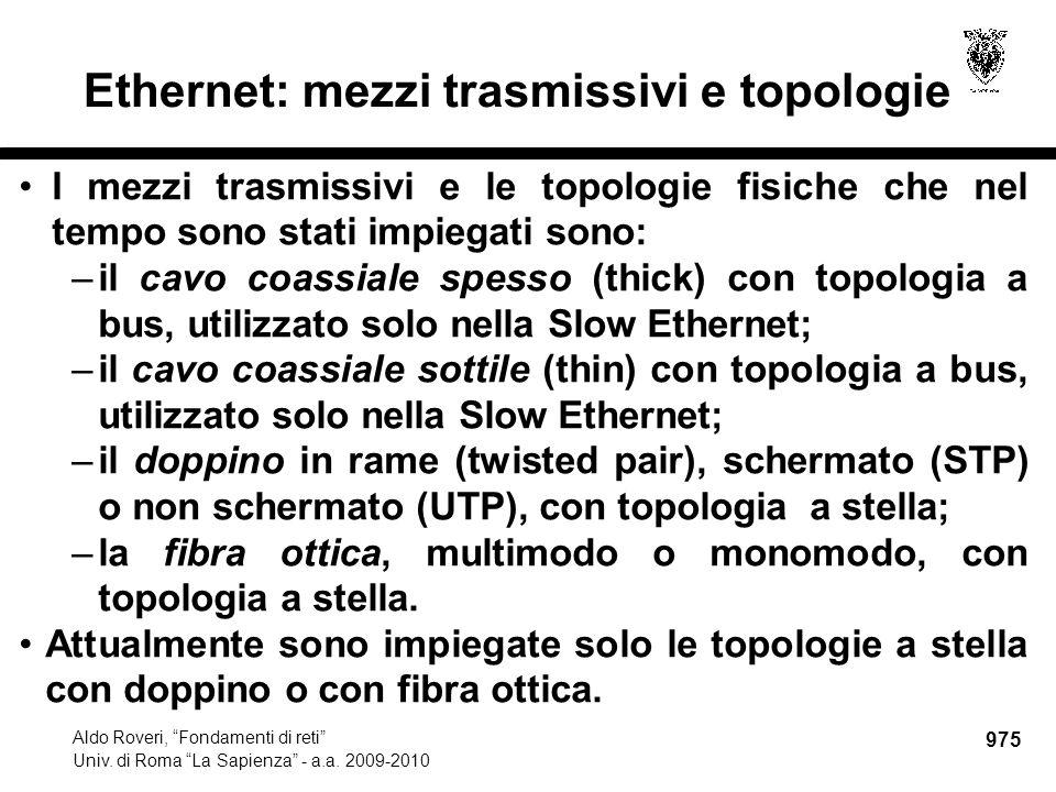 """975 Aldo Roveri, """"Fondamenti di reti"""" Univ. di Roma """"La Sapienza"""" - a.a. 2009-2010 Ethernet: mezzi trasmissivi e topologie I mezzi trasmissivi e le to"""
