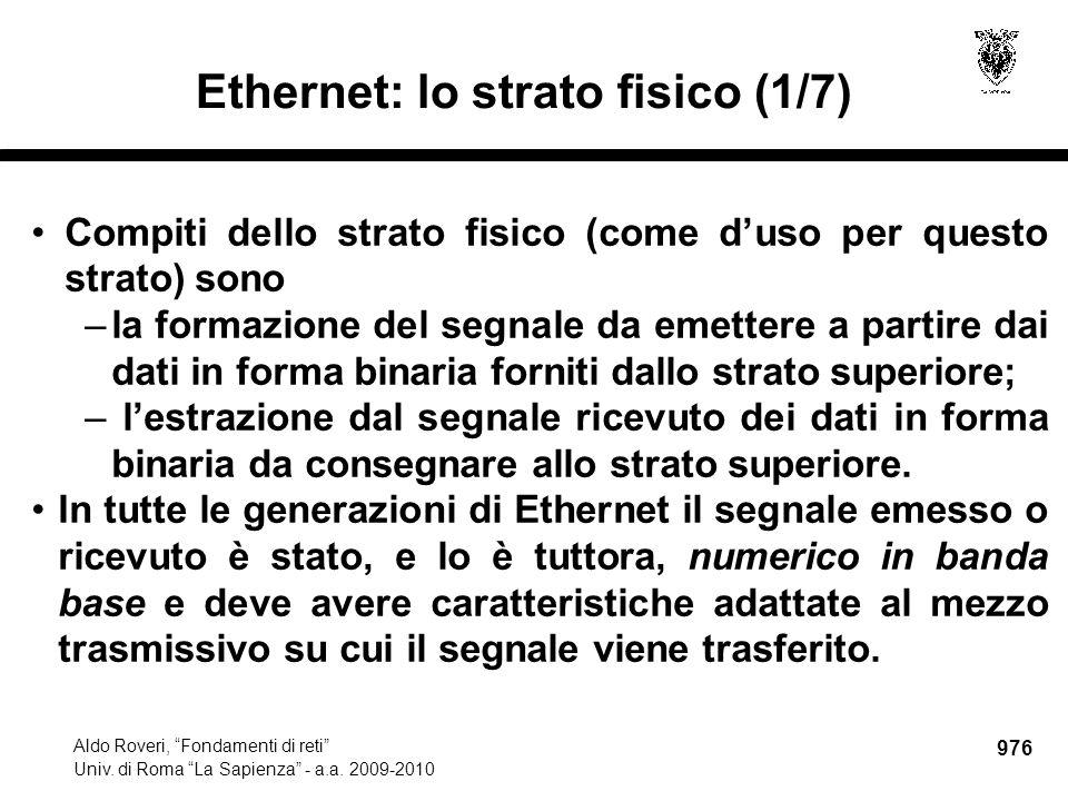 """976 Aldo Roveri, """"Fondamenti di reti"""" Univ. di Roma """"La Sapienza"""" - a.a. 2009-2010 Ethernet: lo strato fisico (1/7) Compiti dello strato fisico (come"""