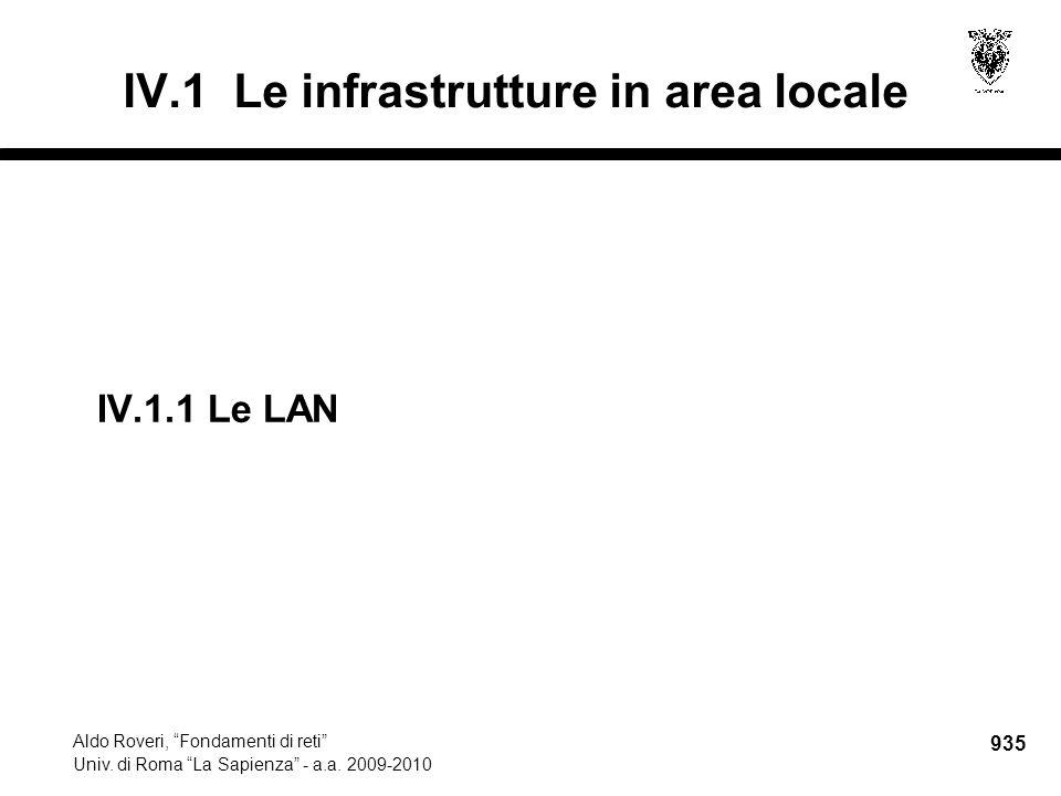 """935 Aldo Roveri, """"Fondamenti di reti"""" Univ. di Roma """"La Sapienza"""" - a.a. 2009-2010 IV.1 Le infrastrutture in area locale IV.1.1Le LAN"""