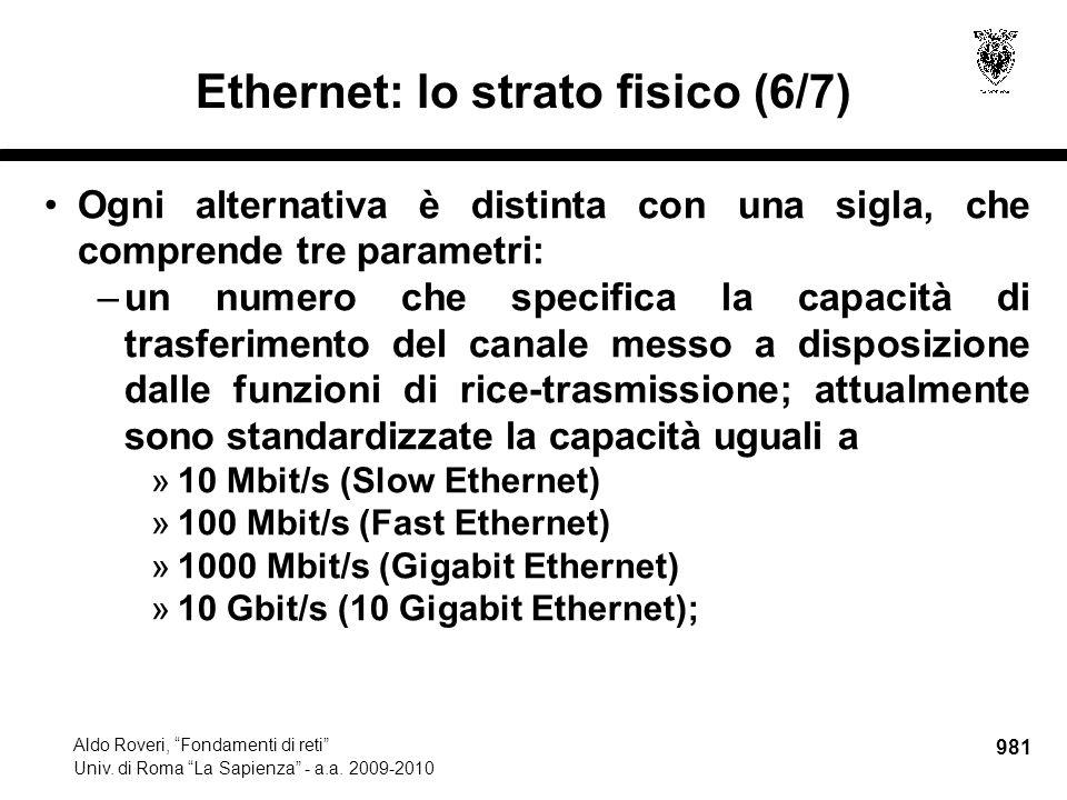 """981 Aldo Roveri, """"Fondamenti di reti"""" Univ. di Roma """"La Sapienza"""" - a.a. 2009-2010 Ethernet: lo strato fisico (6/7) Ogni alternativa è distinta con un"""