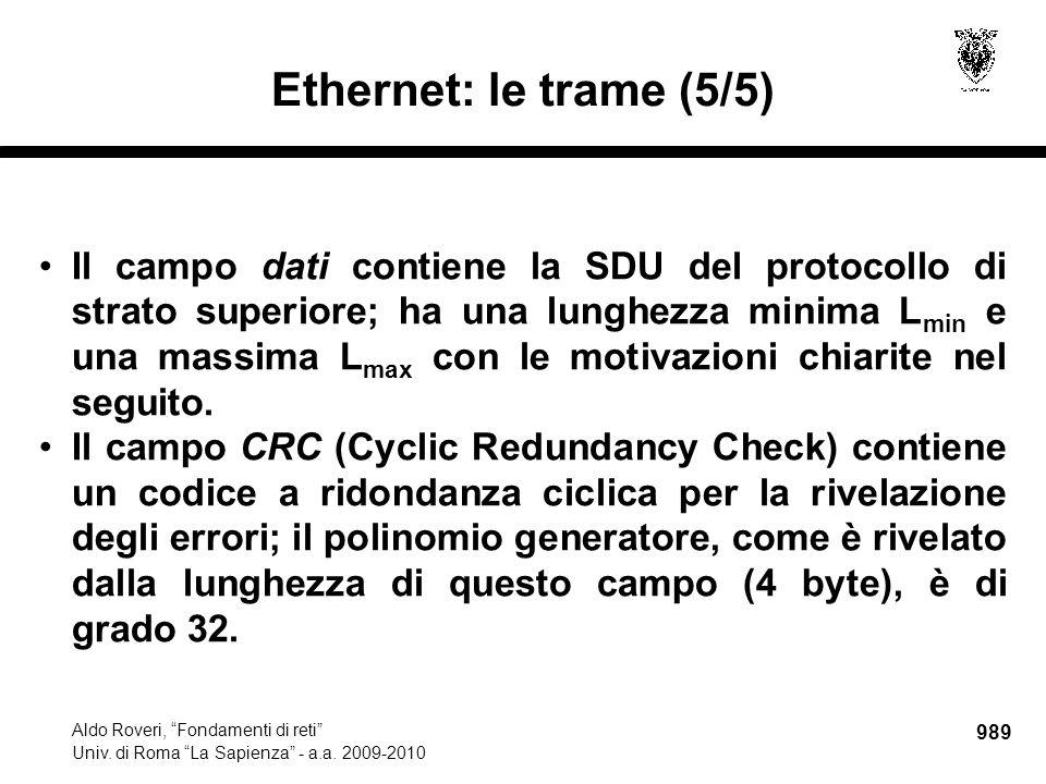 """989 Aldo Roveri, """"Fondamenti di reti"""" Univ. di Roma """"La Sapienza"""" - a.a. 2009-2010 Ethernet: le trame (5/5) Il campo dati contiene la SDU del protocol"""