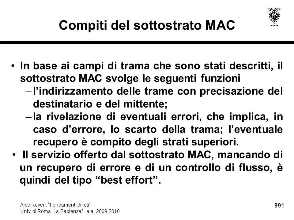 """991 Aldo Roveri, """"Fondamenti di reti"""" Univ. di Roma """"La Sapienza"""" - a.a. 2009-2010 Compiti del sottostrato MAC In base ai campi di trama che sono stat"""