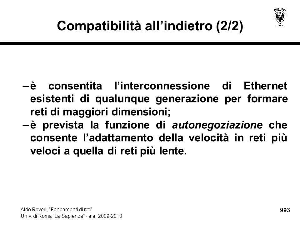 """993 Aldo Roveri, """"Fondamenti di reti"""" Univ. di Roma """"La Sapienza"""" - a.a. 2009-2010 Compatibilità all'indietro (2/2) –è consentita l'interconnessione d"""