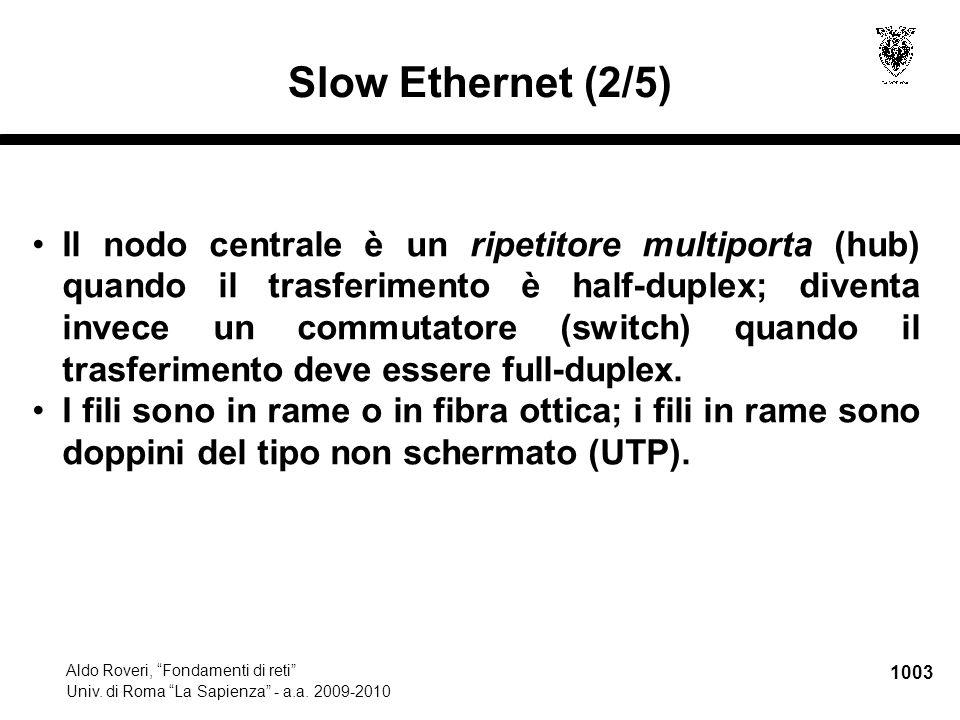 """1003 Aldo Roveri, """"Fondamenti di reti"""" Univ. di Roma """"La Sapienza"""" - a.a. 2009-2010 Slow Ethernet (2/5) Il nodo centrale è un ripetitore multiporta (h"""