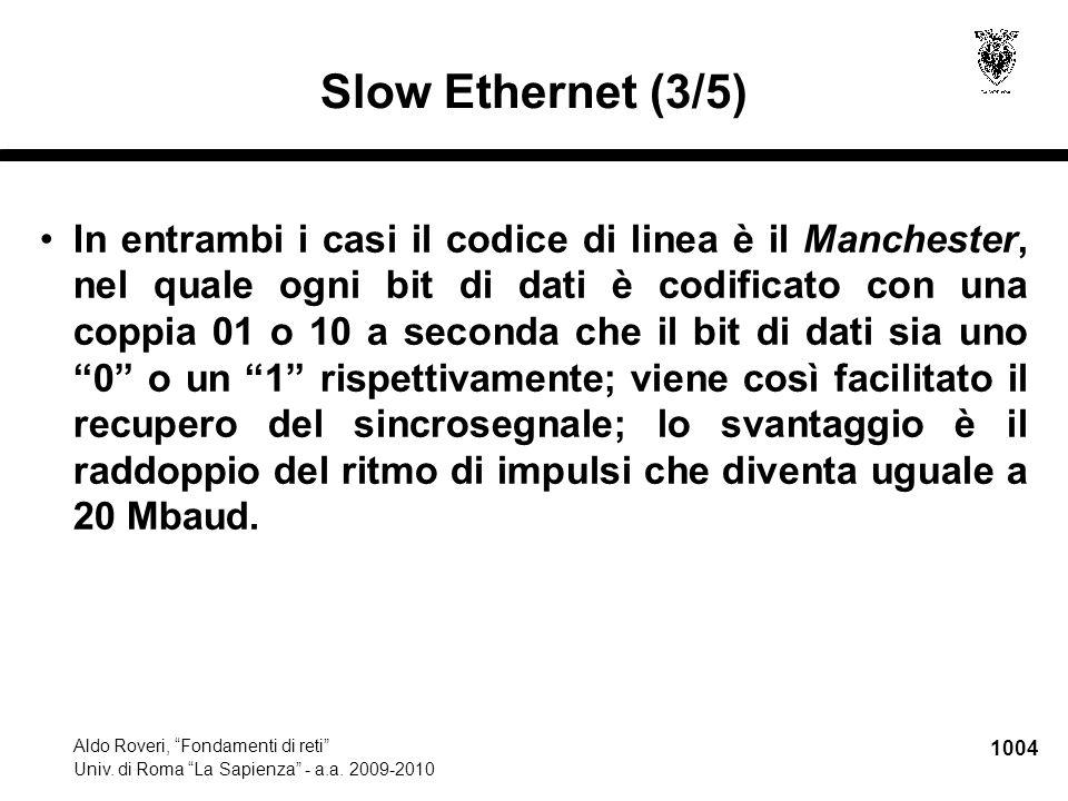 """1004 Aldo Roveri, """"Fondamenti di reti"""" Univ. di Roma """"La Sapienza"""" - a.a. 2009-2010 Slow Ethernet (3/5) In entrambi i casi il codice di linea è il Man"""