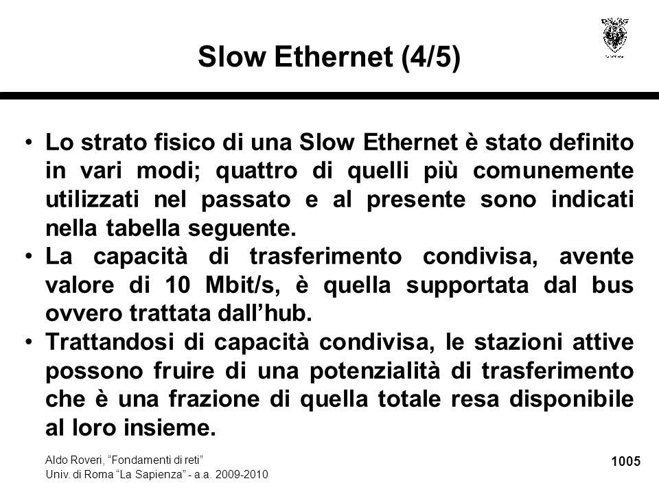 """1005 Aldo Roveri, """"Fondamenti di reti"""" Univ. di Roma """"La Sapienza"""" - a.a. 2009-2010 Slow Ethernet (4/5) Lo strato fisico di una Slow Ethernet è stato"""