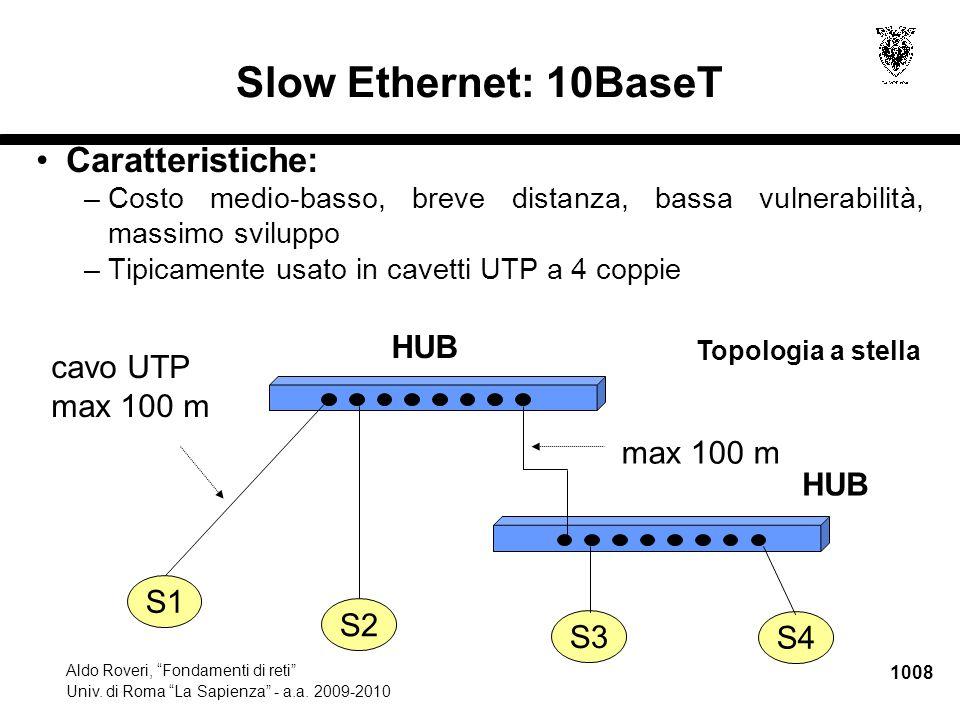 """1008 Aldo Roveri, """"Fondamenti di reti"""" Univ. di Roma """"La Sapienza"""" - a.a. 2009-2010 S4 Slow Ethernet: 10BaseT S3 HUB S1 S2 cavo UTP max 100 m HUB Topo"""