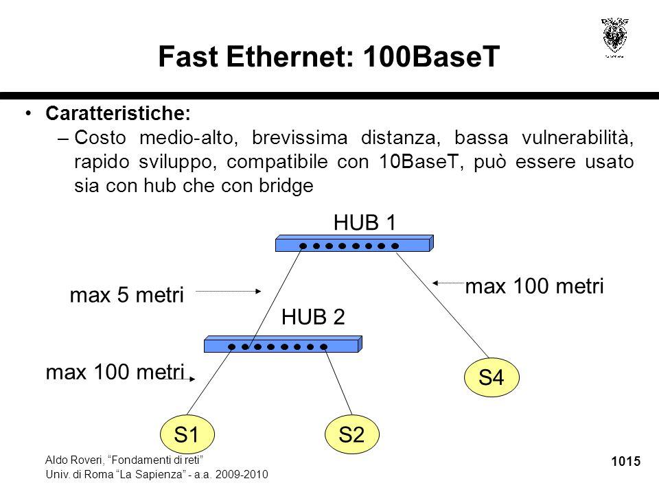 """1015 Aldo Roveri, """"Fondamenti di reti"""" Univ. di Roma """"La Sapienza"""" - a.a. 2009-2010 S1S2 S4 HUB 1 HUB 2 max 5 metri max 100 metri Fast Ethernet: 100Ba"""