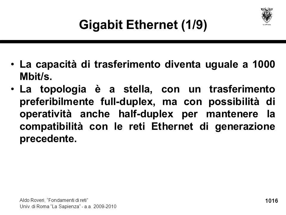 """1016 Aldo Roveri, """"Fondamenti di reti"""" Univ. di Roma """"La Sapienza"""" - a.a. 2009-2010 Gigabit Ethernet (1/9) La capacità di trasferimento diventa uguale"""