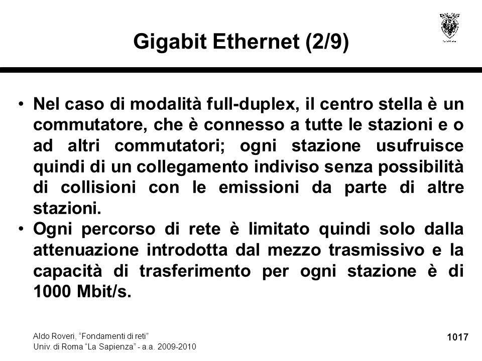 """1017 Aldo Roveri, """"Fondamenti di reti"""" Univ. di Roma """"La Sapienza"""" - a.a. 2009-2010 Gigabit Ethernet (2/9) Nel caso di modalità full-duplex, il centro"""
