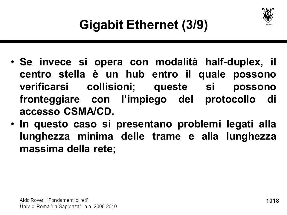 """1018 Aldo Roveri, """"Fondamenti di reti"""" Univ. di Roma """"La Sapienza"""" - a.a. 2009-2010 Gigabit Ethernet (3/9) Se invece si opera con modalità half-duplex"""