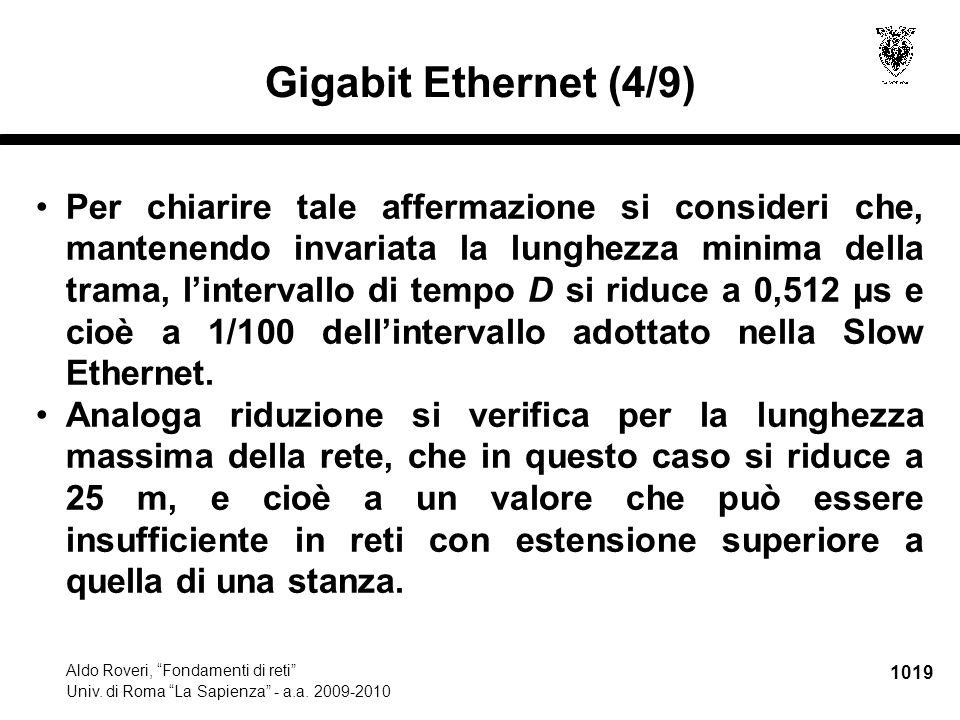 """1019 Aldo Roveri, """"Fondamenti di reti"""" Univ. di Roma """"La Sapienza"""" - a.a. 2009-2010 Gigabit Ethernet (4/9) Per chiarire tale affermazione si consideri"""