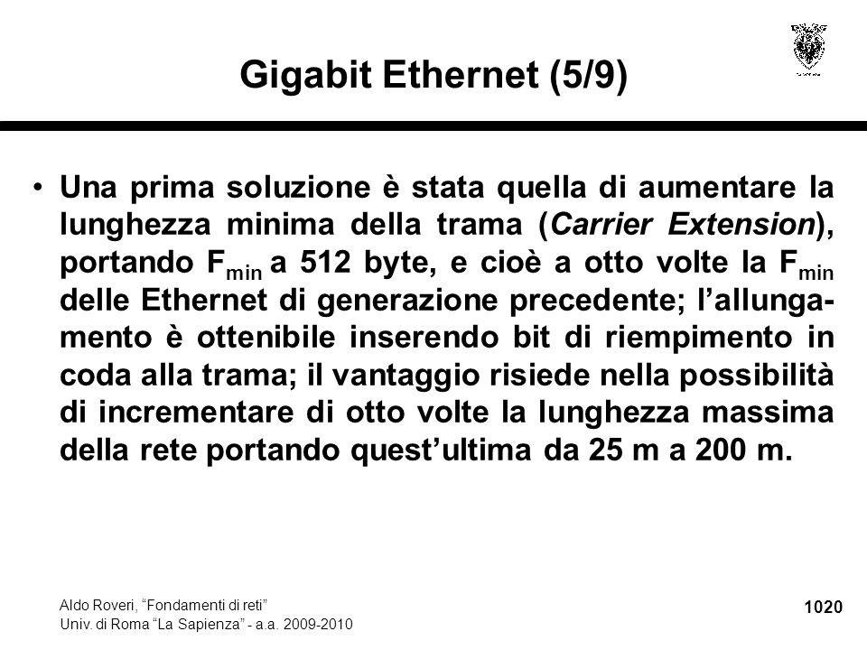 """1020 Aldo Roveri, """"Fondamenti di reti"""" Univ. di Roma """"La Sapienza"""" - a.a. 2009-2010 Gigabit Ethernet (5/9) Una prima soluzione è stata quella di aumen"""