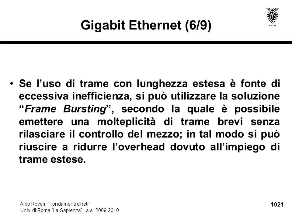 """1021 Aldo Roveri, """"Fondamenti di reti"""" Univ. di Roma """"La Sapienza"""" - a.a. 2009-2010 Gigabit Ethernet (6/9) Se l'uso di trame con lunghezza estesa è fo"""