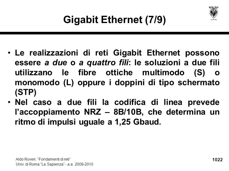 """1022 Aldo Roveri, """"Fondamenti di reti"""" Univ. di Roma """"La Sapienza"""" - a.a. 2009-2010 Gigabit Ethernet (7/9) Le realizzazioni di reti Gigabit Ethernet p"""