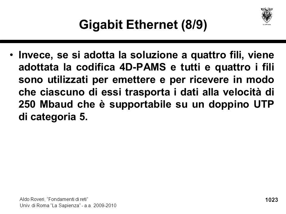"""1023 Aldo Roveri, """"Fondamenti di reti"""" Univ. di Roma """"La Sapienza"""" - a.a. 2009-2010 Gigabit Ethernet (8/9) Invece, se si adotta la soluzione a quattro"""